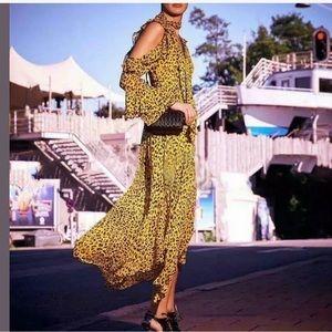 DVF Ruffled leopard-print silk wrap maxi dress